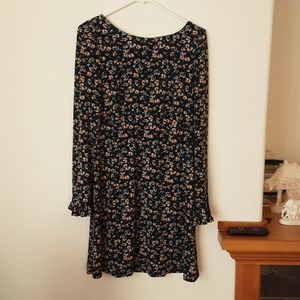 Free people floral dress ruffle long sleeve mini